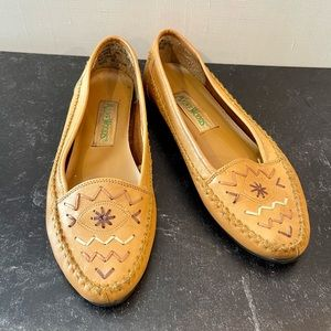 Leather Embroidered Loafer Moccasins